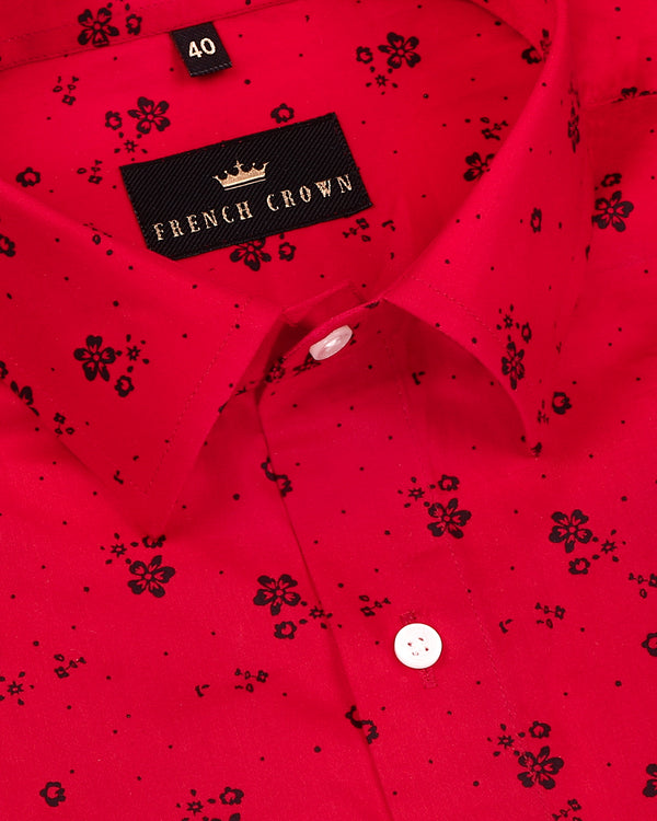 Rose Red Flower Printed Super Soft Giza Cotton SHIRT