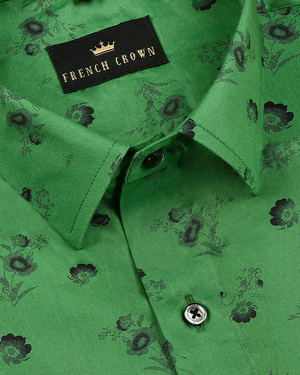 Basil Green Flower Printed Super Soft Giza Cotton SHIRT