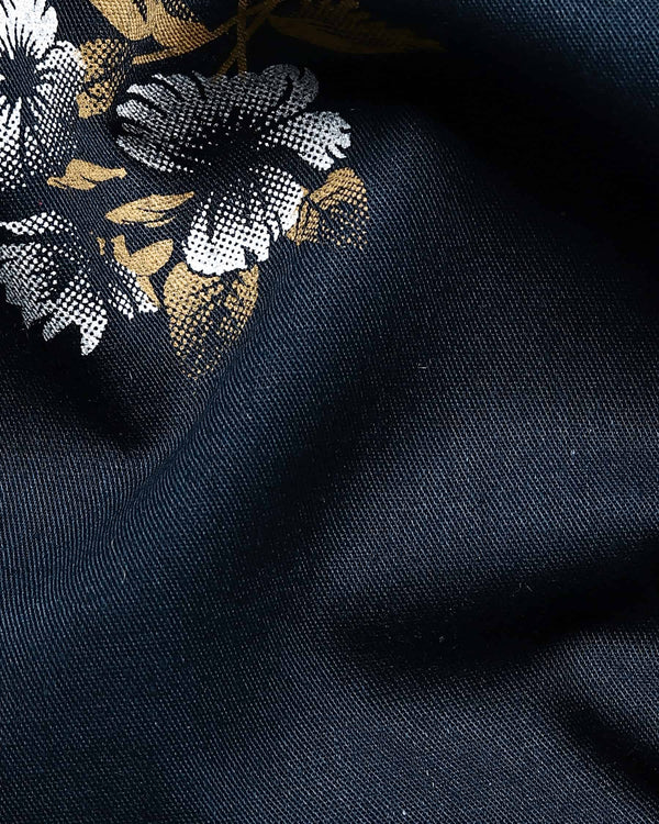 Navy Flower Printed Premium cotton SHIRT