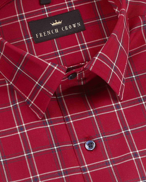 Crimson Red Windowpane Premium Cotton SHIRT