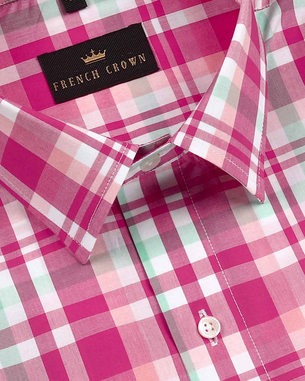 Bubblegum Pink Checked Premium cotton Shirt