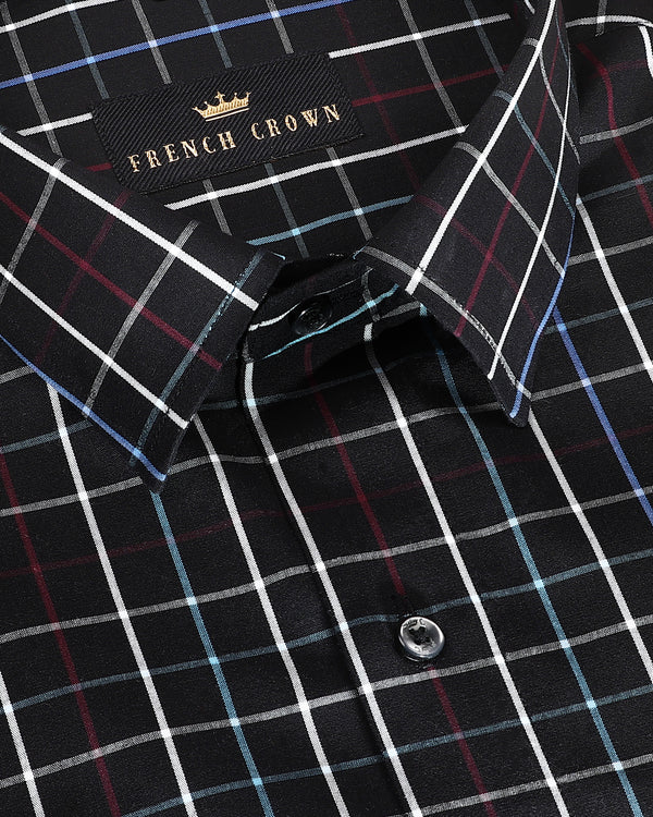 Jade Black Windowpane Crisp Cotton Shirt