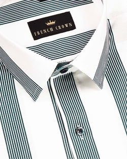 Bright White with Blue Broad Striped Royal Oxford Shirt
