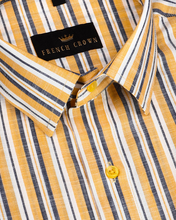 Yellow striped luxurious Linen Shirt