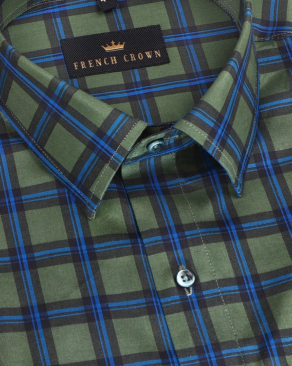 Pine Green Windowpane Premium Cotton SHIRT