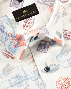 Global Stamps Print Lightweight Premium cotton Shirt