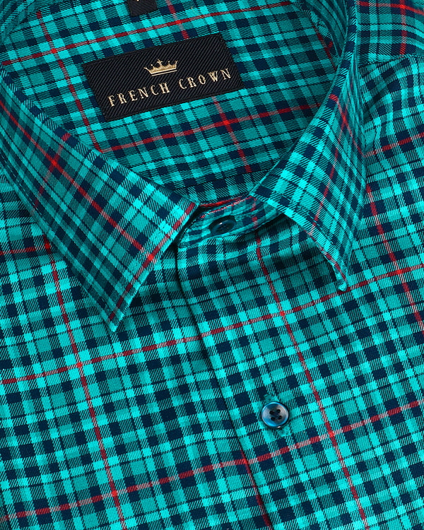 Ocean Blue with Navy and Red Checked Ultra soft Giza Cotton SHIRT