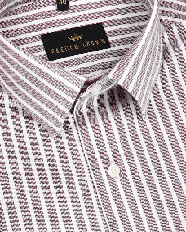 Light Brown Striped Royal Oxford Shirt