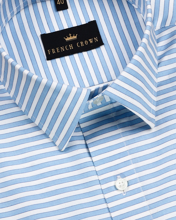 Sky with white Horizontal Striped Premium Cotton Shirt