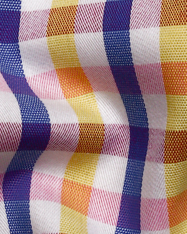 Yellow, Blue and Pink Checked Premium Cotton SHIRT