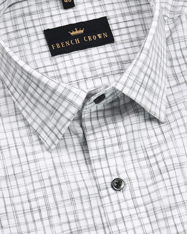 Bright white with Grey Checked Premium Cotton Shirt