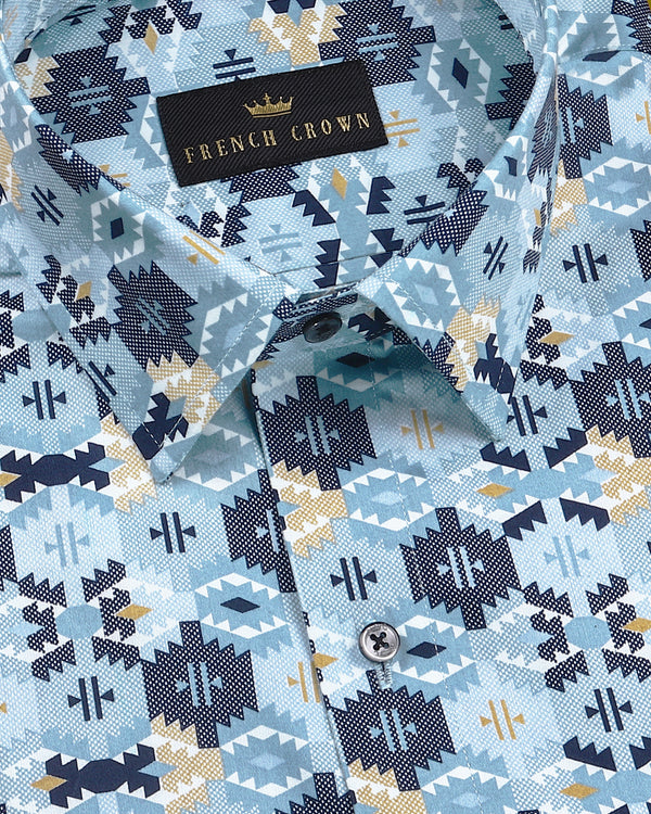 Stone Blue Ikat Printed Super Soft Giza Cotton SHIRT