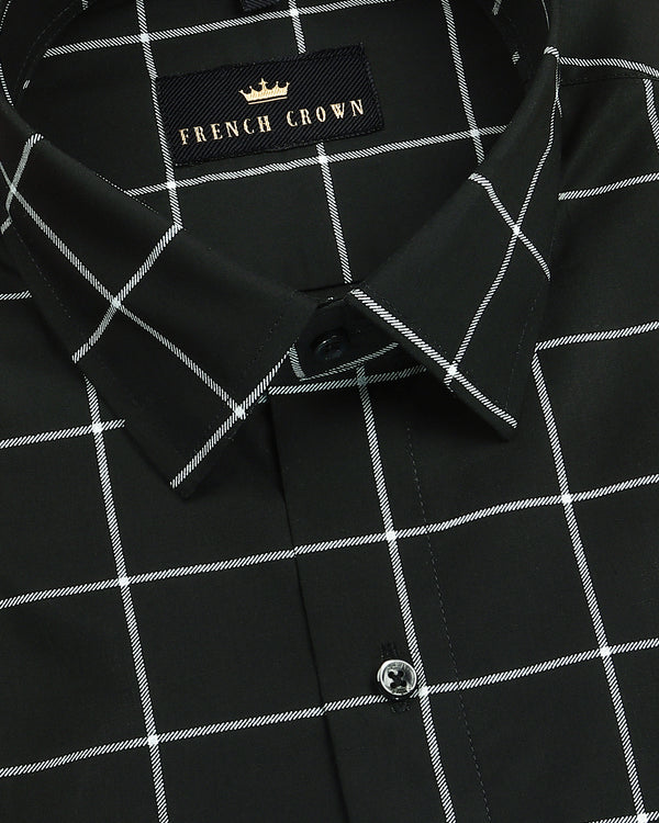 Oil Black Windowpane Premium Cotton Shirt