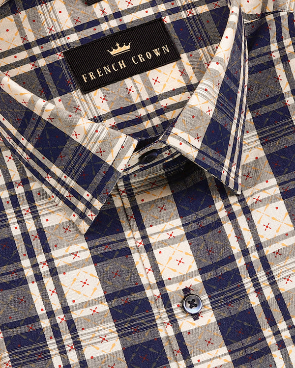 Navy-Cream Plaid with yellow-Red Over Print Premium Cotton Shirt
