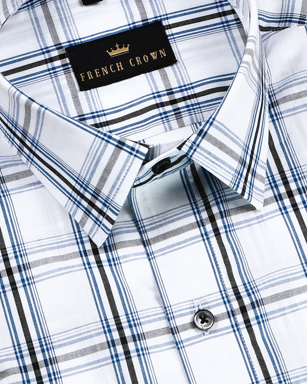 Bright White Plaid with Premium Cotton Shirt