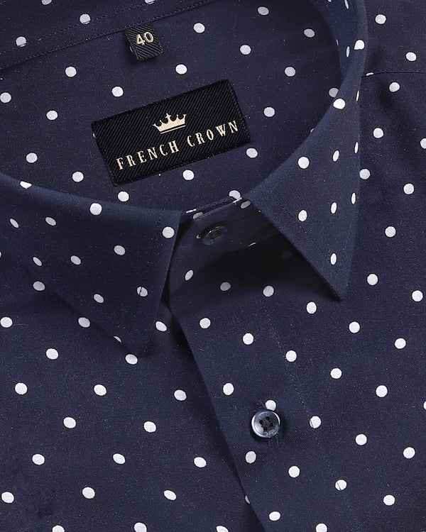 Navy Polka Dotted Print Tencel Shirt