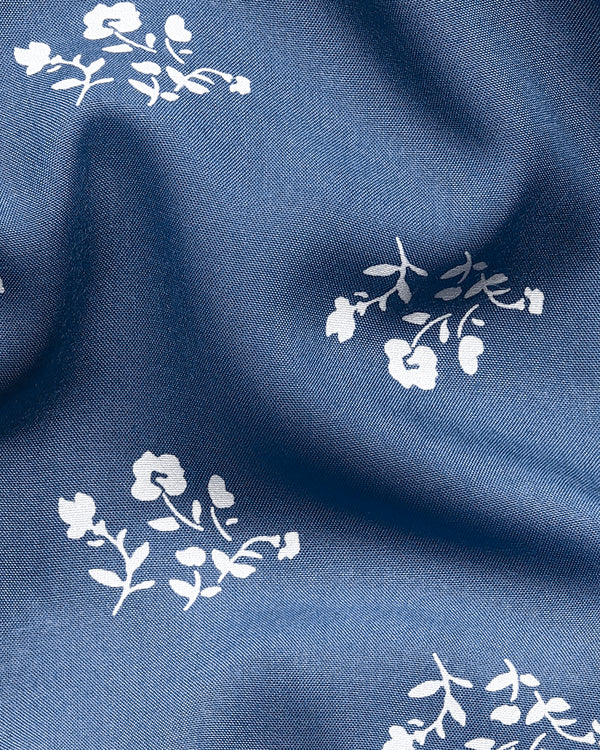 Steel Blue Flower Print Tencel Shirt