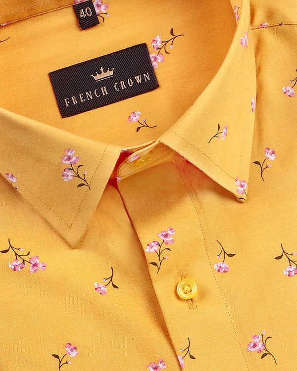 Sunshine Yellow Flower Print Tencel Shirt