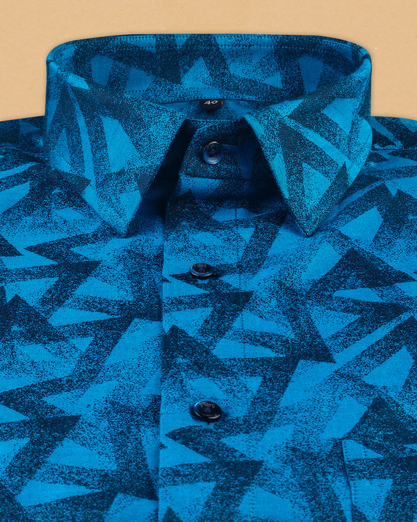 Rich Blue Triangles Jacquard Textured Giza Cotton SHIRT