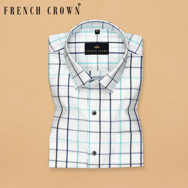 Bright white Windowpane Crisp Premium Cotton Shirt