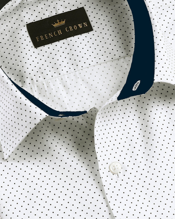 Bright White Deco Dotted Premium cotton Shirt