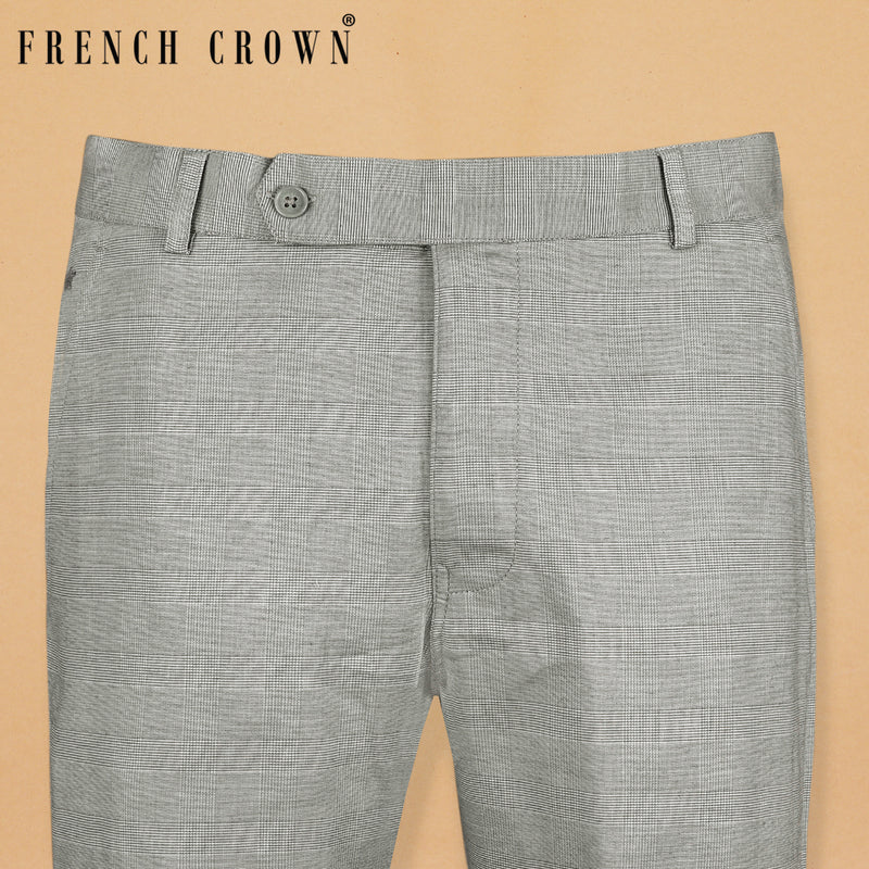 Light Grey subtle checked Stretchable Cotton Pant