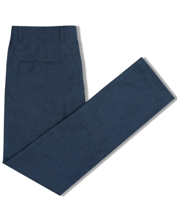 Royal Blue Regular fit LINEN Trouser
