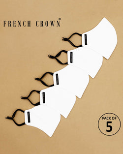 French Crown Pack Of 5 WHITE Cotton Masks