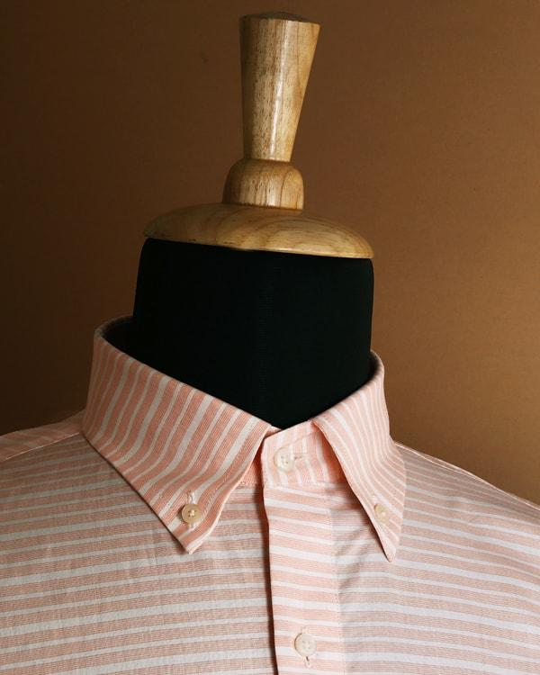 White with Orange Multiple Horizontal Striped Poplin Shirt