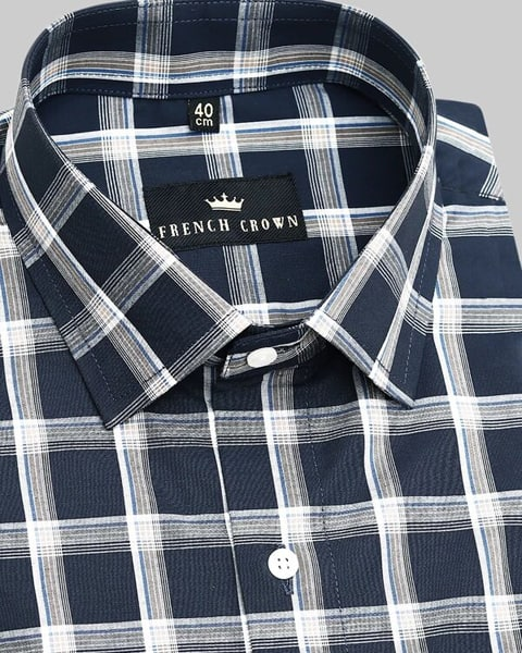 Black and Brown Plaid Poplin shirt