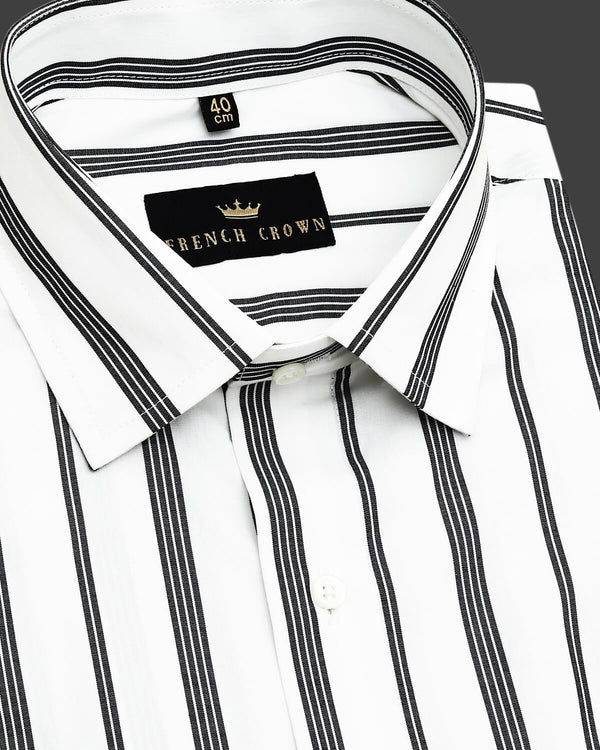 Black and white Multiple Broad Striped Poplin shirt