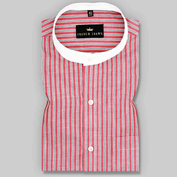 Red and Black Striped Poplin Shirt