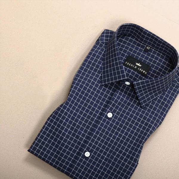 Navy Blue with White Checked Poplin Shirt
