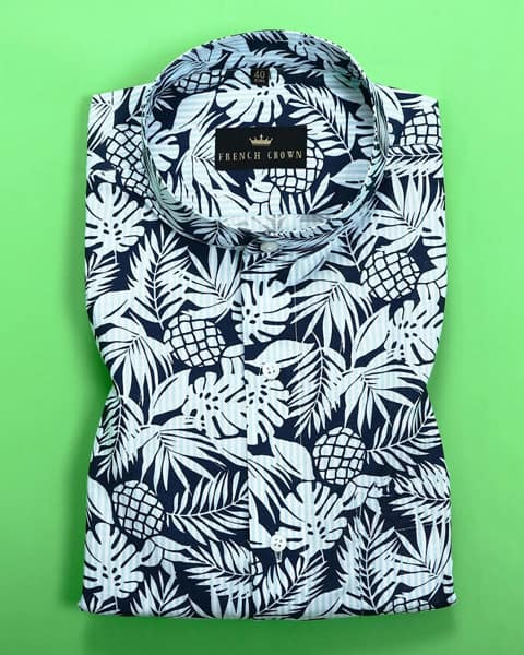 Blue Tropical Print Dobby Shirt