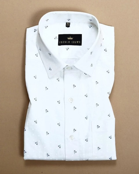 Bright White Flower Printed twill SHIRT