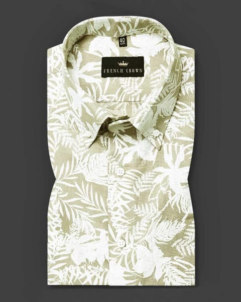 Olive Tropical Print Luxurious Linen cotton SHIRT