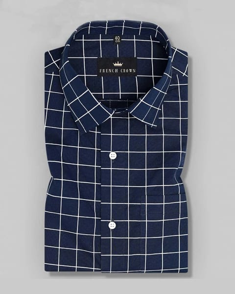 Navy Blue Checked Soft Satin Shirt
