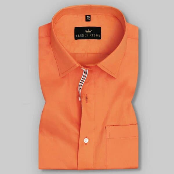 Fire Orange Soft Satin Shirt