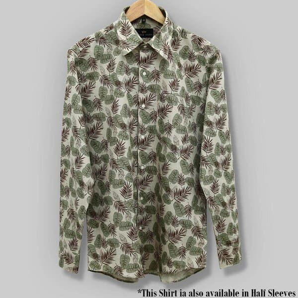 Dark Olive Leaves Printed Luxurious Linen cotton SHIRT