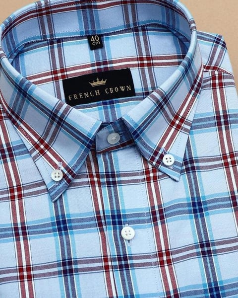 Blue with Red Checked Giza Cotton Dobby Shirt