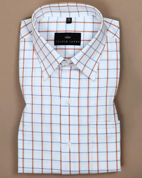 White with Blue and Orange Windowpane Dobby Shirt