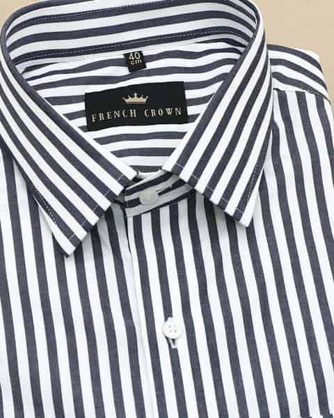 Black and White Striped Poplin Shirt