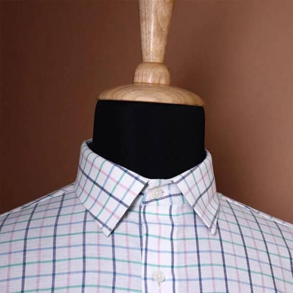 White with multi color windowpane Checked Dobby Shirt