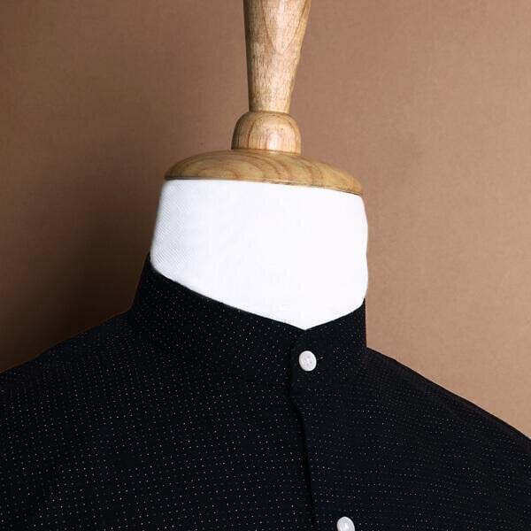 Black Textured Mandarin collar Dobby Shirt