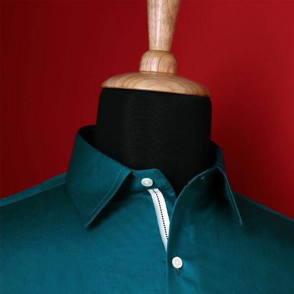 Peacock Blue Soft Satin Shirt
