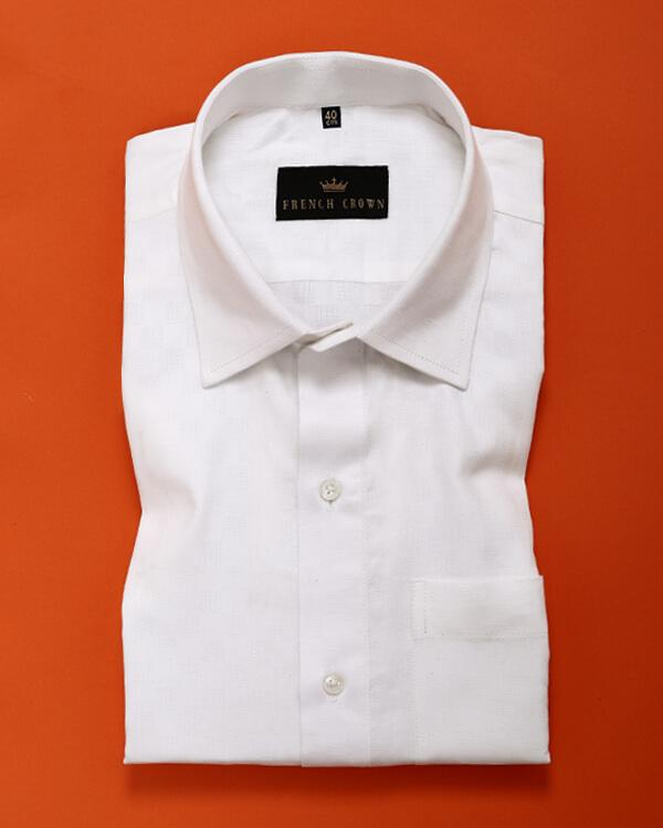 Bright white Textured Dobby Shirt