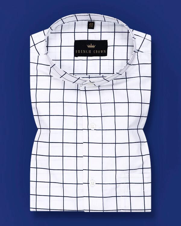 Bright White Checked Soft Satin Shirt
