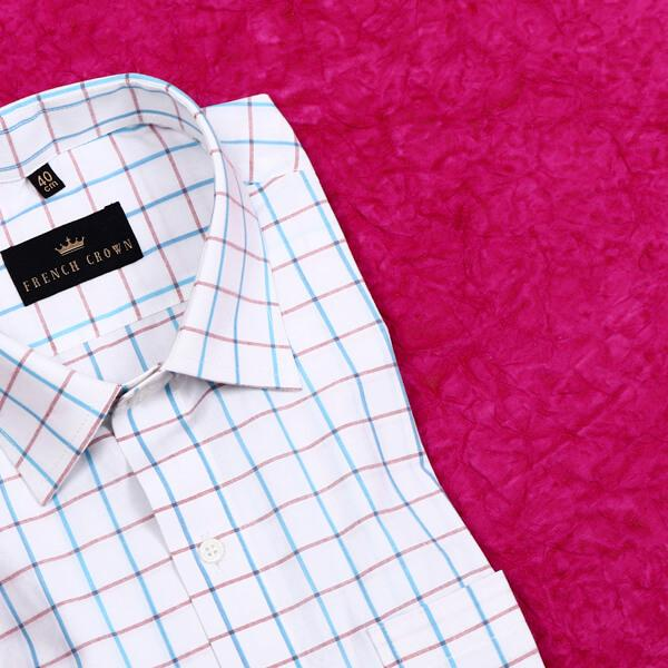 White with Pink and Blue Checked Dobby Shirt