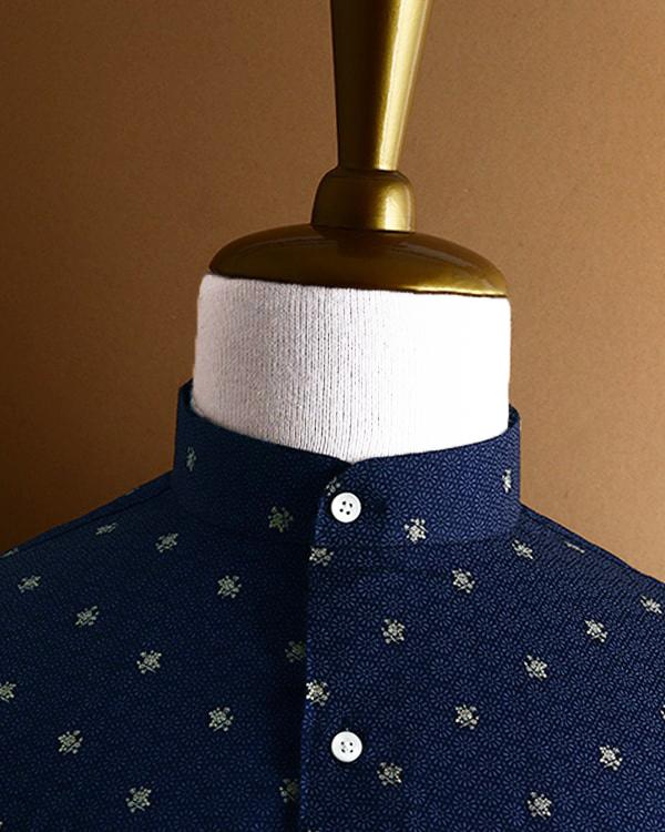 Navy Blue Flower Printed Satin SHIRT