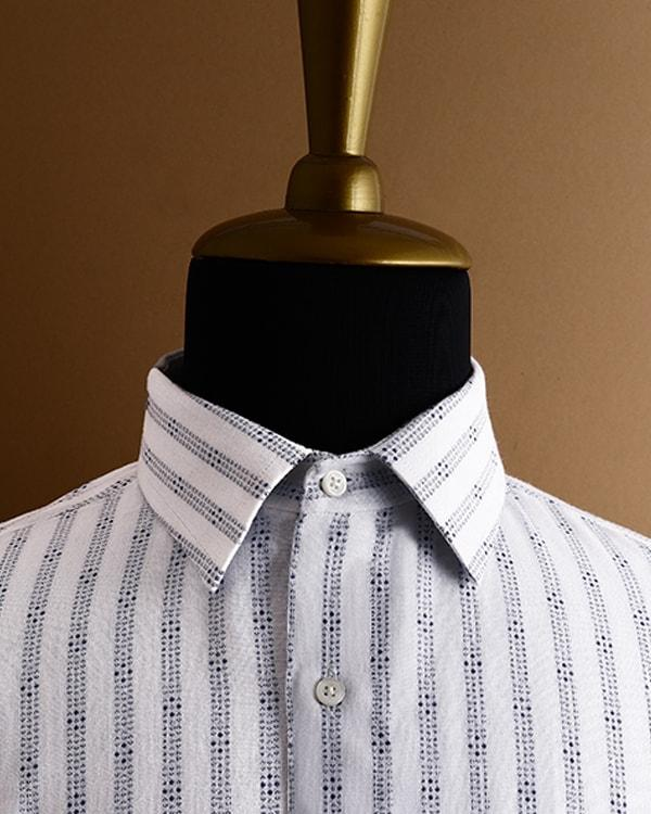 White with Blue Jacquard Striped twill SHIRT